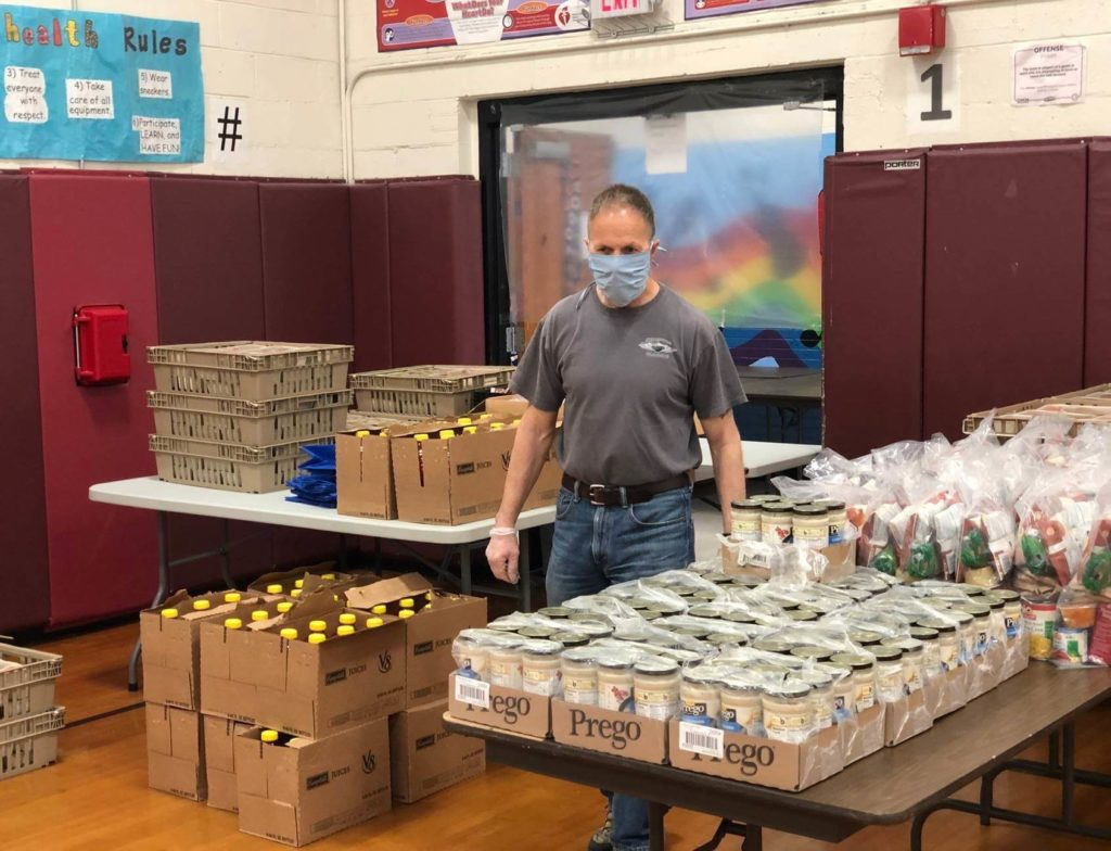 man and donated food